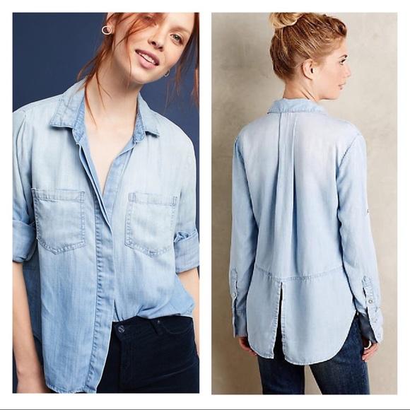 ff58147441e17 cloth & stone Tops | Cloth Stone Split Back Chambray Buttondown Top ...